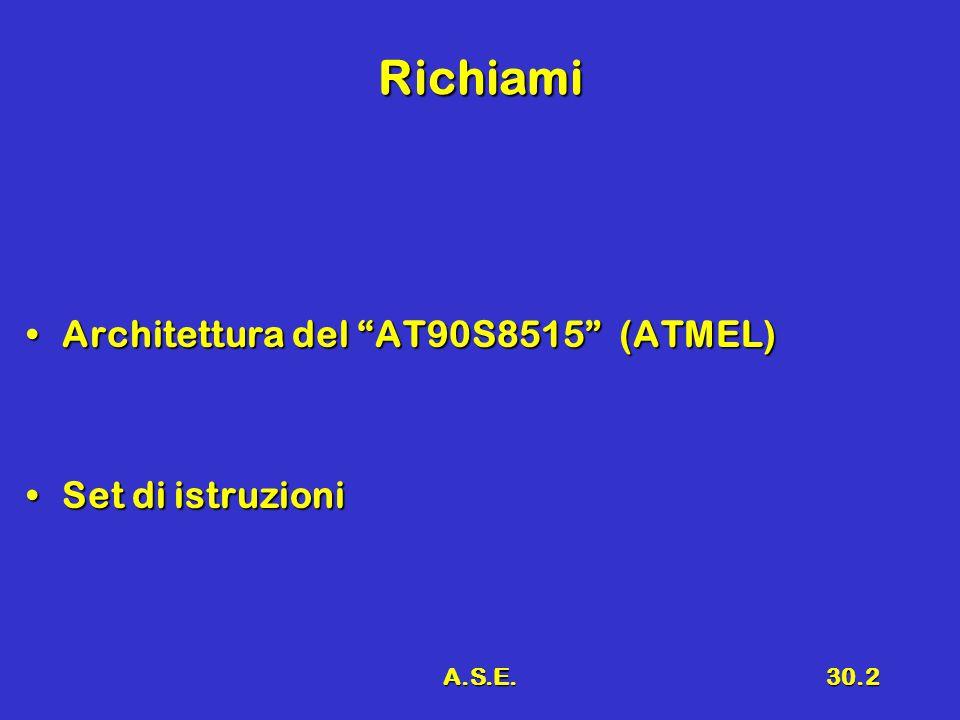 """A.S.E.30.2 Richiami Architettura del """"AT90S8515"""" (ATMEL)Architettura del """"AT90S8515"""" (ATMEL) Set di istruzioniSet di istruzioni"""