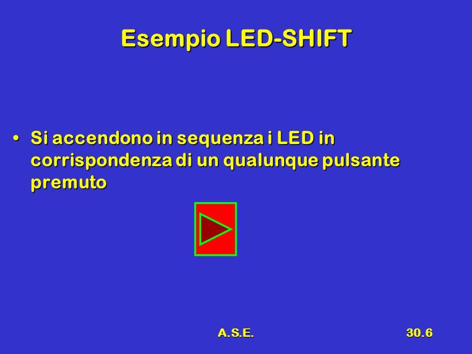 A.S.E.30.6 Esempio LED-SHIFT Si accendono in sequenza i LED in corrispondenza di un qualunque pulsante premutoSi accendono in sequenza i LED in corris