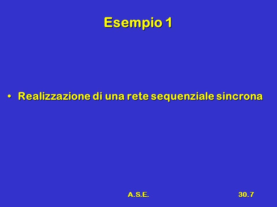 A.S.E.30.7 Esempio 1 Realizzazione di una rete sequenziale sincronaRealizzazione di una rete sequenziale sincrona