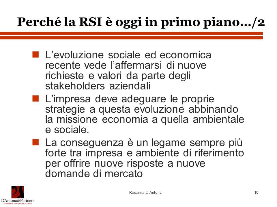 Rosanna D'Antona10 L'evoluzione sociale ed economica recente vede l'affermarsi di nuove richieste e valori da parte degli stakeholders aziendali L'imp