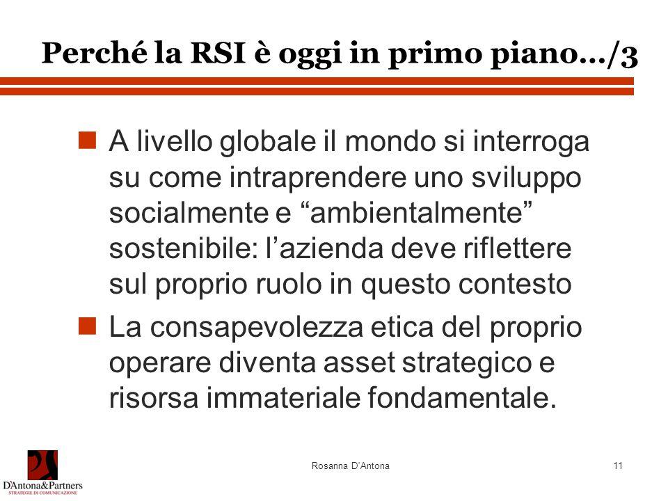 Rosanna D Antona11 A livello globale il mondo si interroga su come intraprendere uno sviluppo socialmente e ambientalmente sostenibile: l'azienda deve riflettere sul proprio ruolo in questo contesto La consapevolezza etica del proprio operare diventa asset strategico e risorsa immateriale fondamentale.