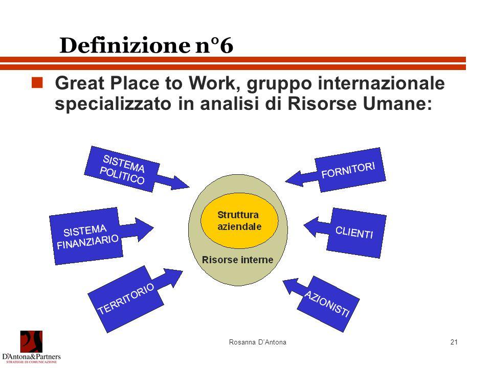 Rosanna D'Antona21 Definizione n°6 Great Place to Work, gruppo internazionale specializzato in analisi di Risorse Umane: