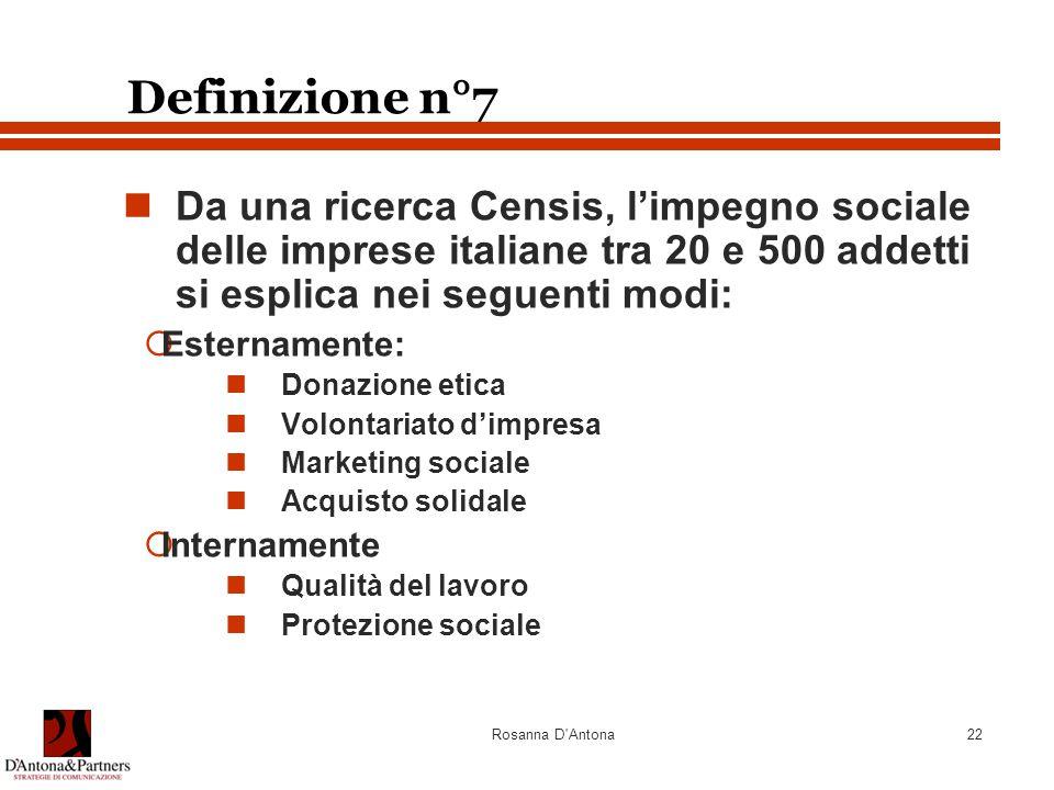 Rosanna D'Antona22 Definizione n°7 Da una ricerca Censis, l'impegno sociale delle imprese italiane tra 20 e 500 addetti si esplica nei seguenti modi: