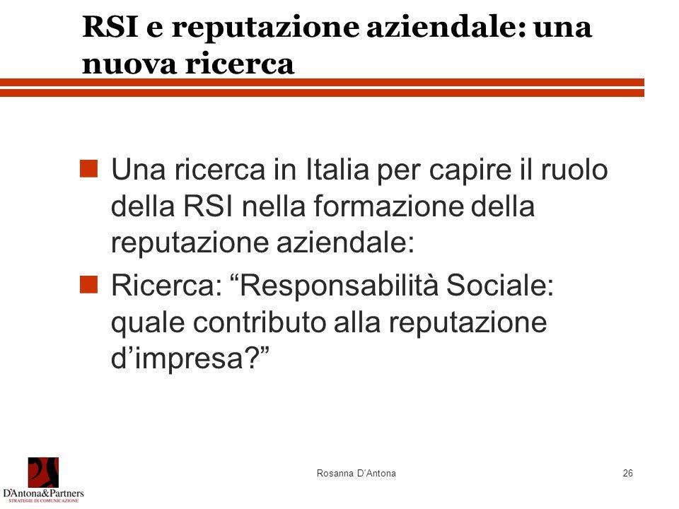 Rosanna D Antona26 RSI e reputazione aziendale: una nuova ricerca Una ricerca in Italia per capire il ruolo della RSI nella formazione della reputazione aziendale: Ricerca: Responsabilità Sociale: quale contributo alla reputazione d'impresa?
