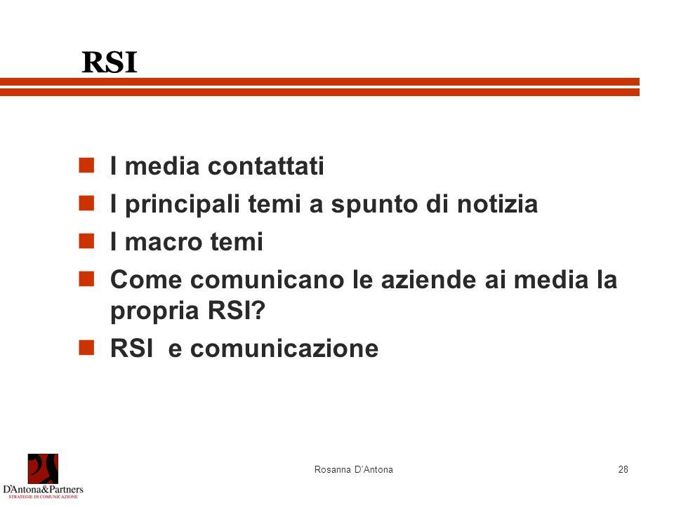 Rosanna D Antona28 RSI I media contattati I principali temi a spunto di notizia I macro temi Come comunicano le aziende ai media la propria RSI.