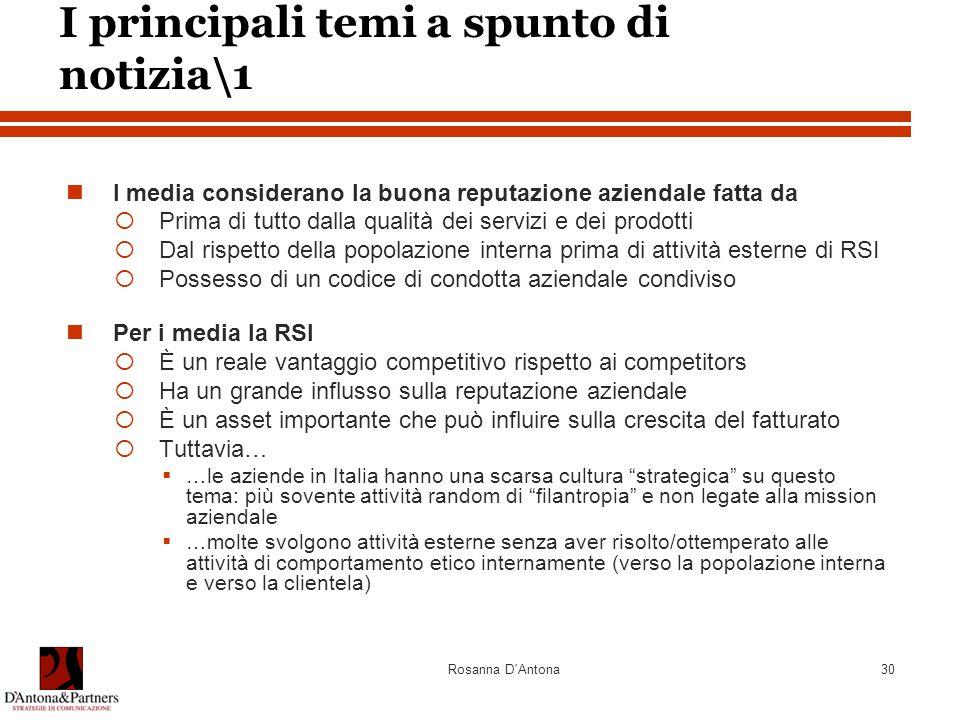 Rosanna D'Antona30 I principali temi a spunto di notizia\1 I media considerano la buona reputazione aziendale fatta da  Prima di tutto dalla qualità