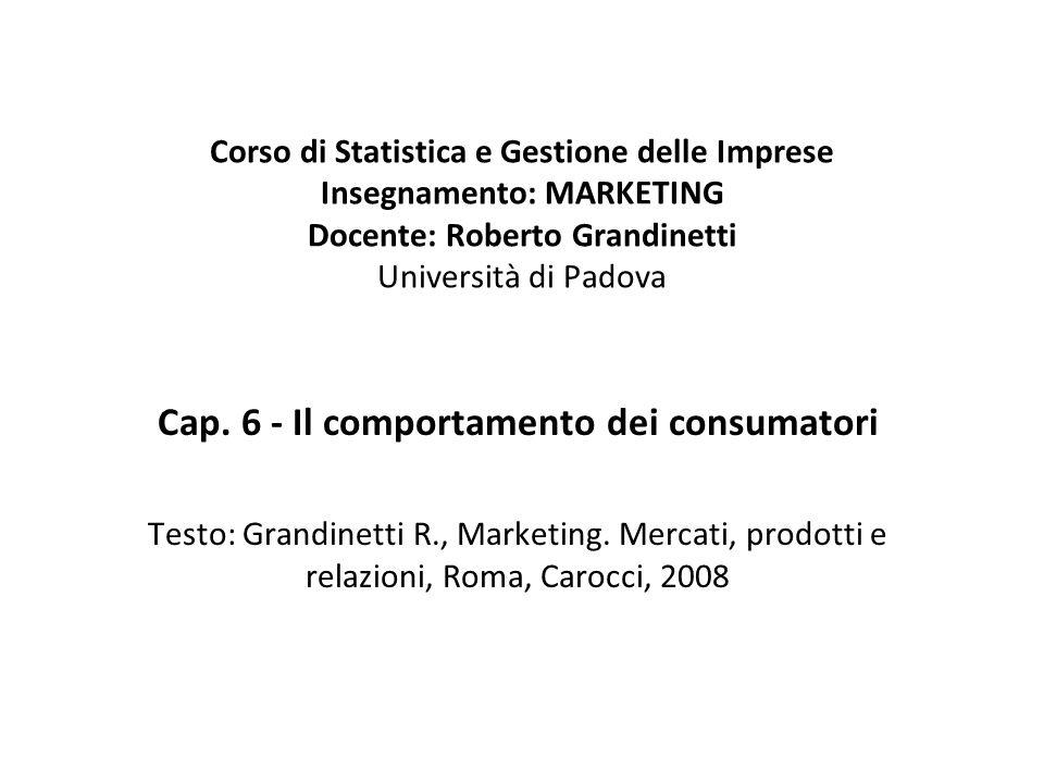 Corso di Statistica e Gestione delle Imprese Insegnamento: MARKETING Docente: Roberto Grandinetti Università di Padova Cap.