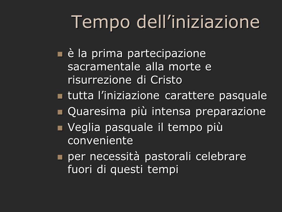 Tempo dell'iniziazione è la prima partecipazione sacramentale alla morte e risurrezione di Cristo è la prima partecipazione sacramentale alla morte e