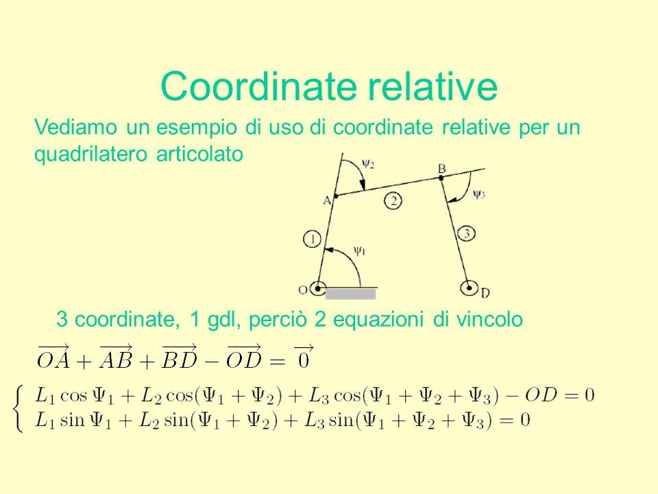 Coordinate relative Vediamo un esempio di uso di coordinate relative per un quadrilatero articolato 3 coordinate, 1 gdl, perciò 2 equazioni di vincolo