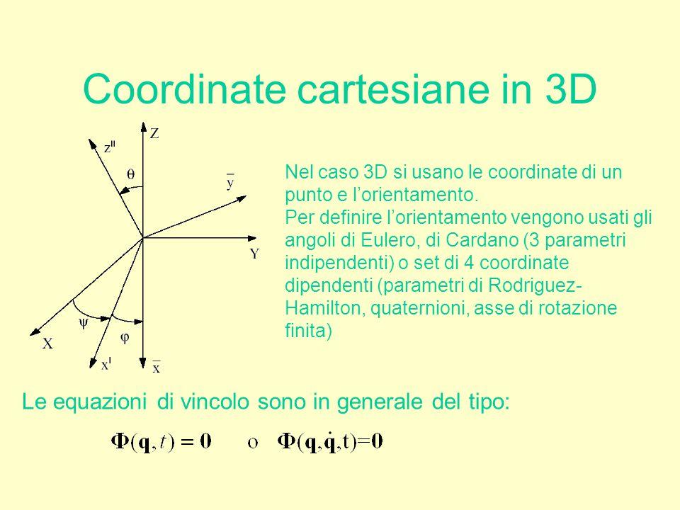 Coordinate cartesiane in 3D Nel caso 3D si usano le coordinate di un punto e l'orientamento. Per definire l'orientamento vengono usati gli angoli di E
