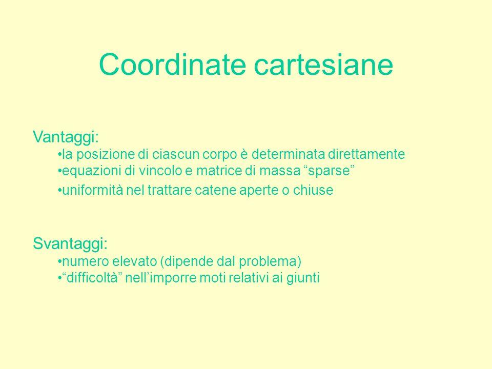 """Coordinate cartesiane Vantaggi: la posizione di ciascun corpo è determinata direttamente equazioni di vincolo e matrice di massa """"sparse"""" uniformità n"""