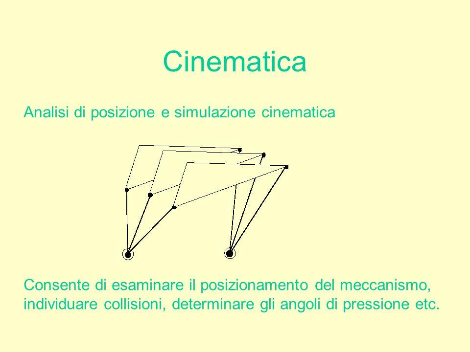 Cinematica Analisi di posizione e simulazione cinematica Consente di esaminare il posizionamento del meccanismo, individuare collisioni, determinare g