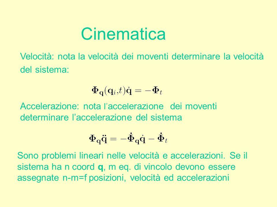 Cinematica Accelerazione: nota l'accelerazione dei moventi determinare l'accelerazione del sistema Velocità: nota la velocità dei moventi determinare