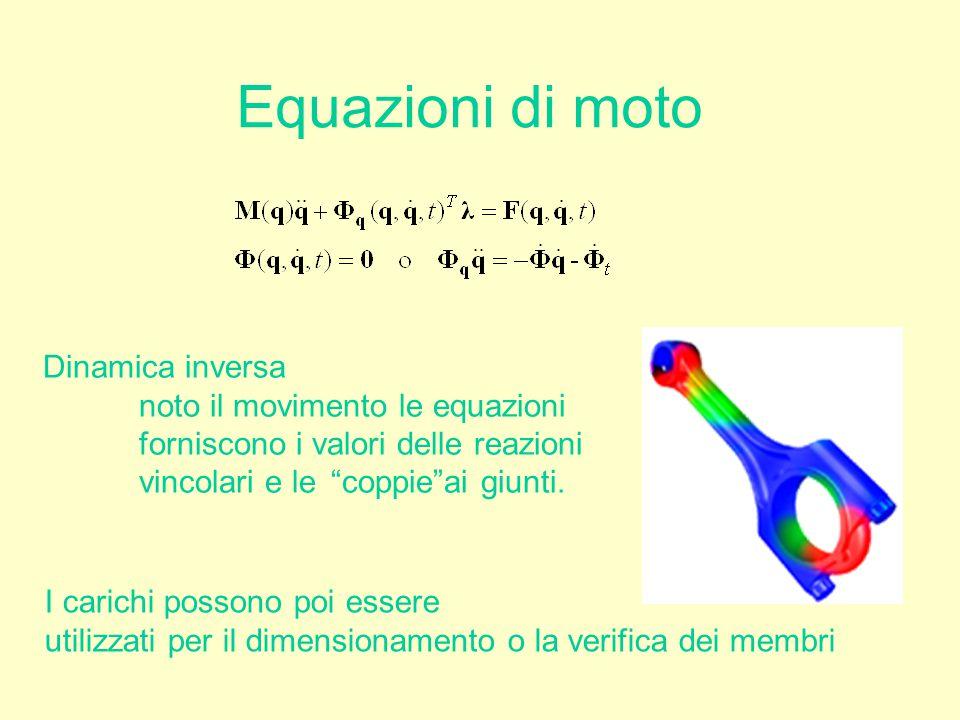 """Equazioni di moto Dinamica inversa noto il movimento le equazioni forniscono i valori delle reazioni vincolari e le """"coppie""""ai giunti. I carichi posso"""