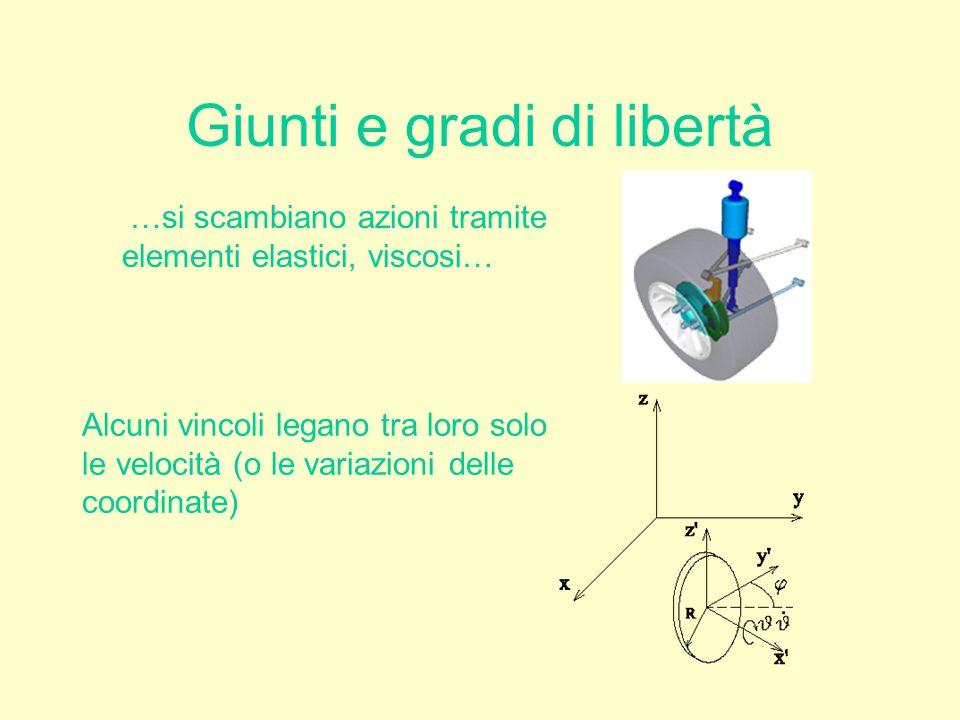 Giunti e gradi di libertà …si scambiano azioni tramite elementi elastici, viscosi… Alcuni vincoli legano tra loro solo le velocità (o le variazioni de