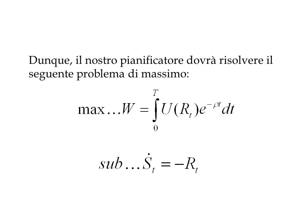 Dunque, il nostro pianificatore dovrà risolvere il seguente problema di massimo: