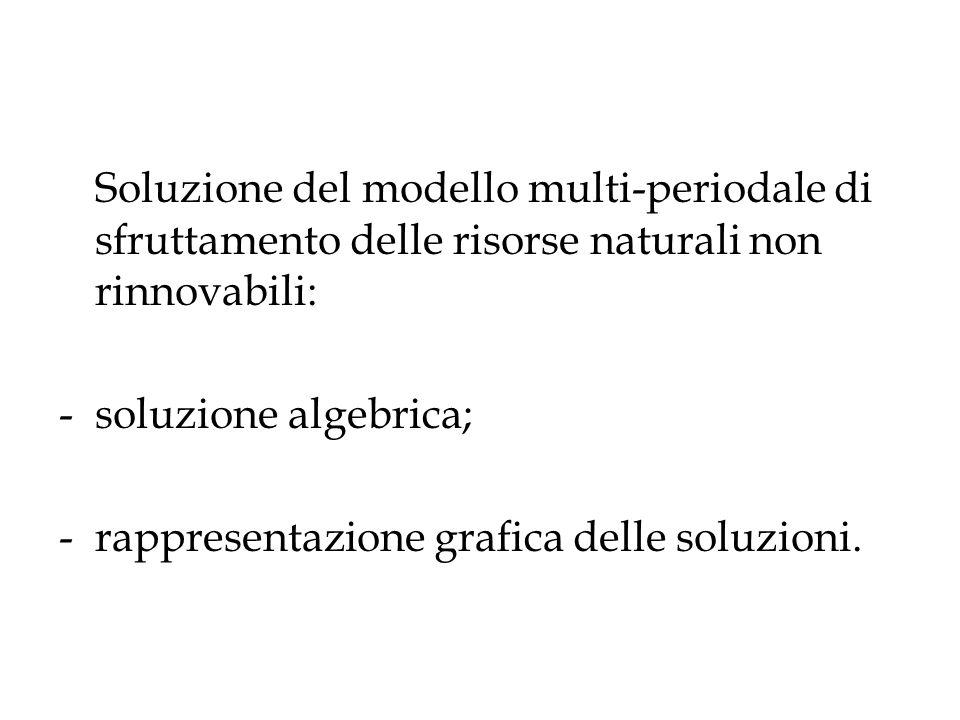 Soluzione del modello multi-periodale di sfruttamento delle risorse naturali non rinnovabili: -soluzione algebrica; -rappresentazione grafica delle so