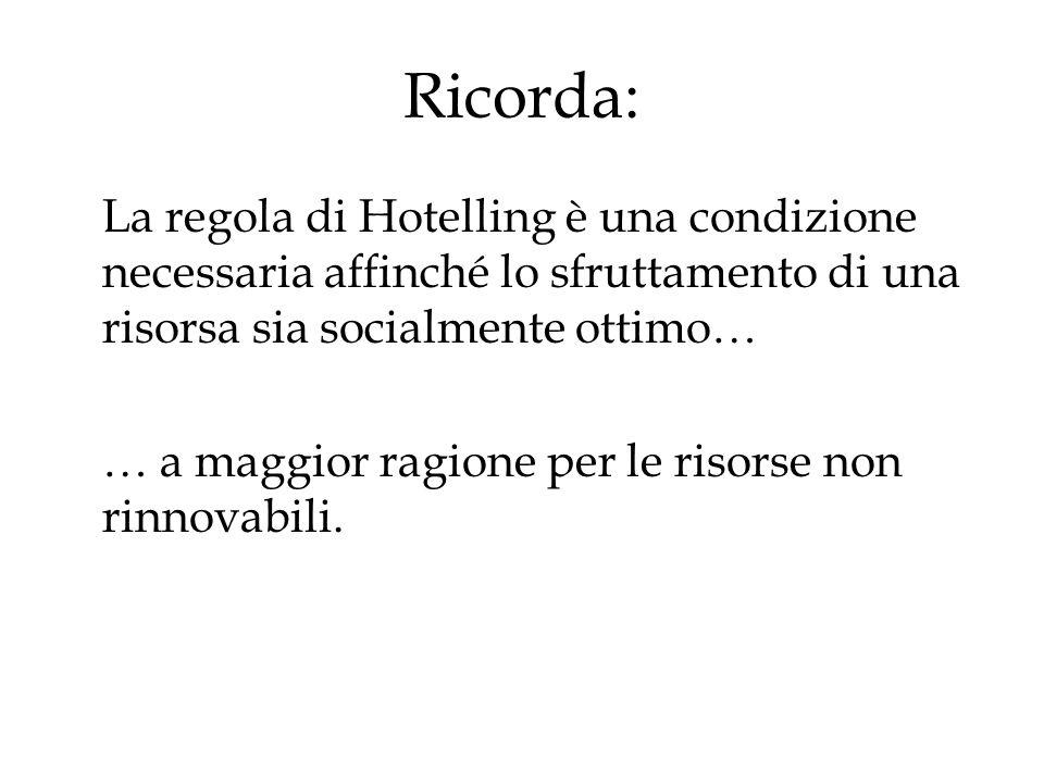 Ricorda: La regola di Hotelling è una condizione necessaria affinché lo sfruttamento di una risorsa sia socialmente ottimo… … a maggior ragione per le