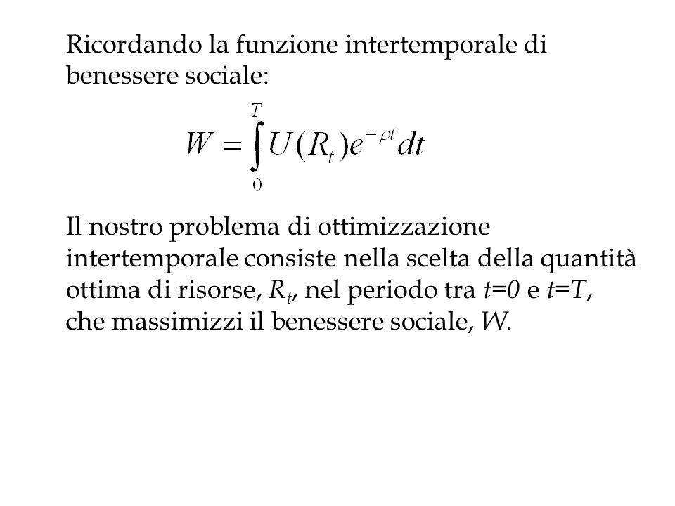 Ricordando la funzione intertemporale di benessere sociale: Il nostro problema di ottimizzazione intertemporale consiste nella scelta della quantità o