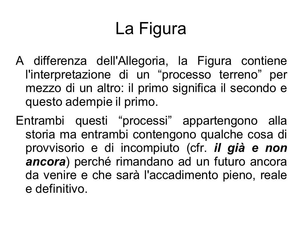 """La Figura A differenza dell'Allegoria, la Figura contiene l'interpretazione di un """"processo terreno"""" per mezzo di un altro: il primo significa il seco"""
