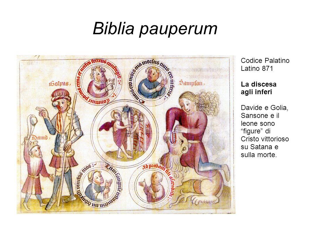 """Biblia pauperum Codice Palatino Latino 871 La discesa agli inferi Davide e Golia, Sansone e il leone sono """"figure"""" di Cristo vittorioso su Satana e su"""