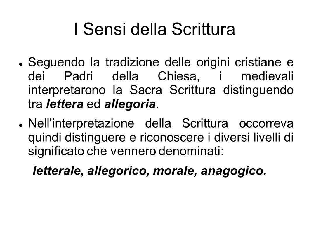 I Sensi della Scrittura Seguendo la tradizione delle origini cristiane e dei Padri della Chiesa, i medievali interpretarono la Sacra Scrittura disting