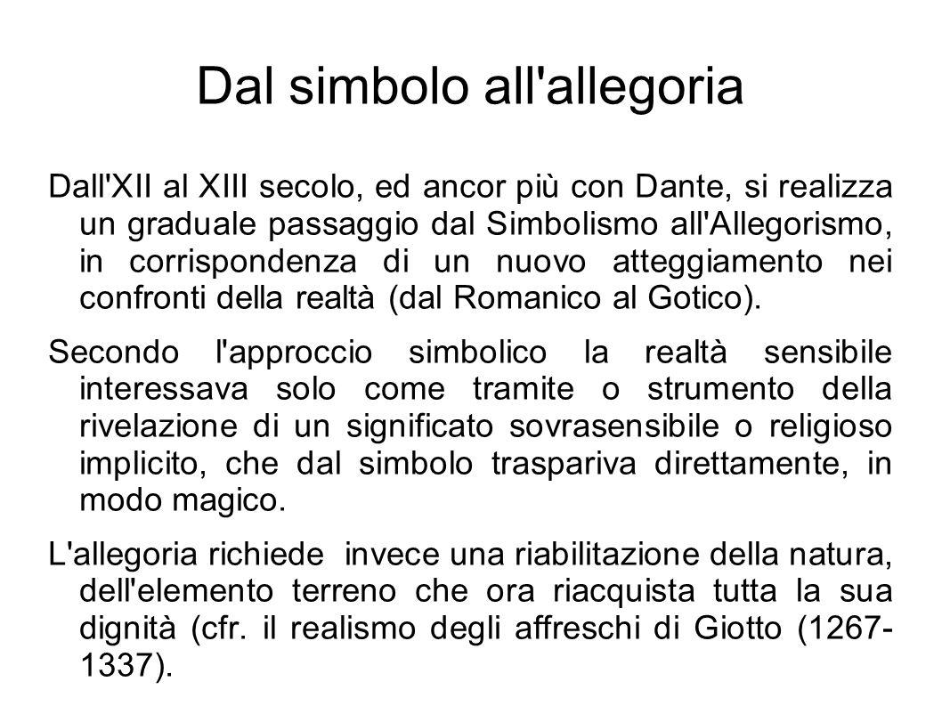 Dal simbolo all'allegoria Dall'XII al XIII secolo, ed ancor più con Dante, si realizza un graduale passaggio dal Simbolismo all'Allegorismo, in corris