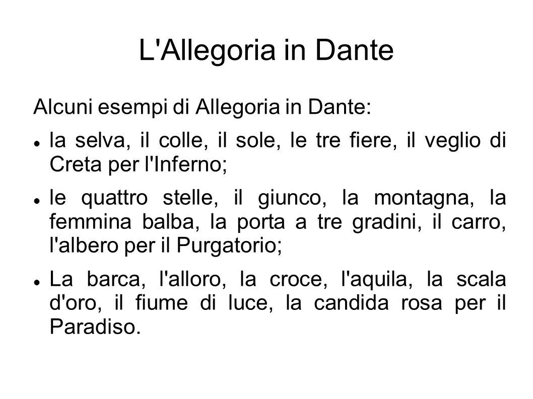 L'Allegoria in Dante Alcuni esempi di Allegoria in Dante: la selva, il colle, il sole, le tre fiere, il veglio di Creta per l'Inferno; le quattro stel