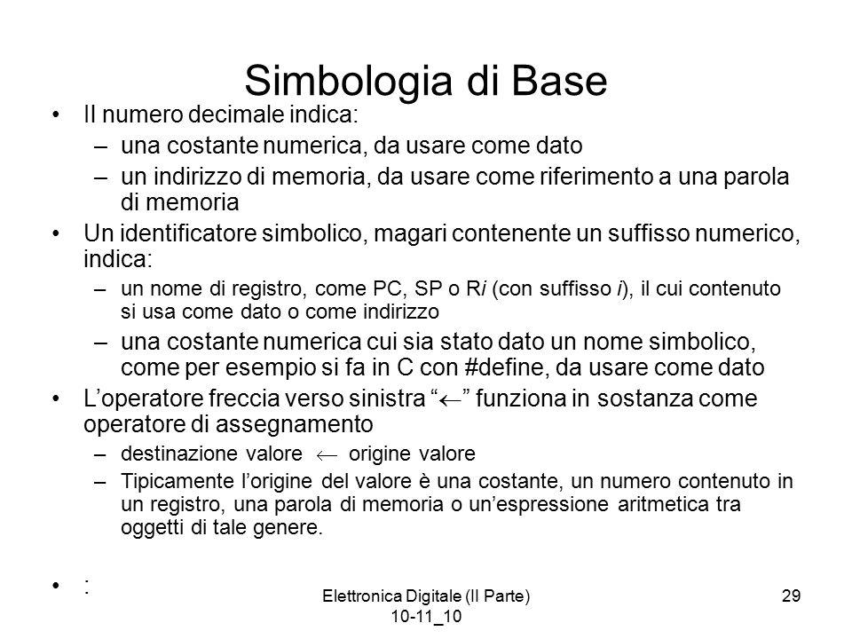 Elettronica Digitale (II Parte) 10-11_10 29 Simbologia di Base Il numero decimale indica: –una costante numerica, da usare come dato –un indirizzo di memoria, da usare come riferimento a una parola di memoria Un identificatore simbolico, magari contenente un suffisso numerico, indica: –un nome di registro, come PC, SP o Ri (con suffisso i), il cui contenuto si usa come dato o come indirizzo –una costante numerica cui sia stato dato un nome simbolico, come per esempio si fa in C con #define, da usare come dato L'operatore freccia verso sinistra  funziona in sostanza come operatore di assegnamento –destinazione valore  origine valore –Tipicamente l'origine del valore è una costante, un numero contenuto in un registro, una parola di memoria o un'espressione aritmetica tra oggetti di tale genere.
