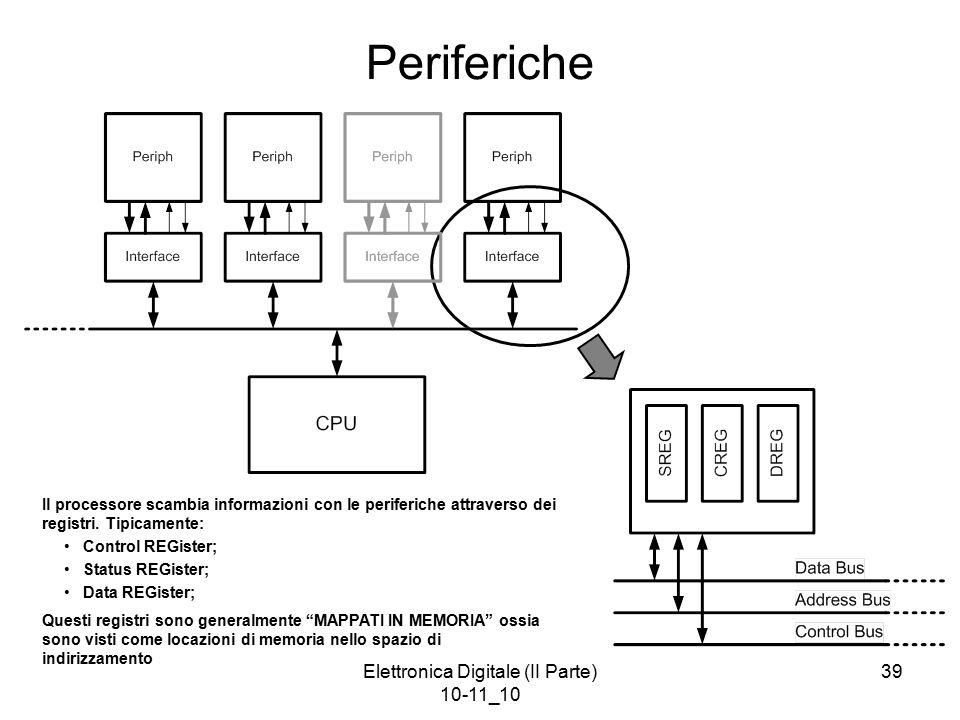 Elettronica Digitale (II Parte) 10-11_10 39 Periferiche Il processore scambia informazioni con le periferiche attraverso dei registri. Tipicamente: Co