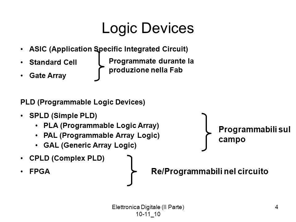 Elettronica Digitale (II Parte) 10-11_10 4 Logic Devices ASIC (Application Specific Integrated Circuit) Standard Cell Gate Array PLD (Programmable Logic Devices) SPLD (Simple PLD) PLA (Programmable Logic Array) PAL (Programmable Array Logic) GAL (Generic Array Logic) CPLD (Complex PLD) FPGA Programmate durante la produzione nella Fab Programmabili sul campo Re/Programmabili nel circuito