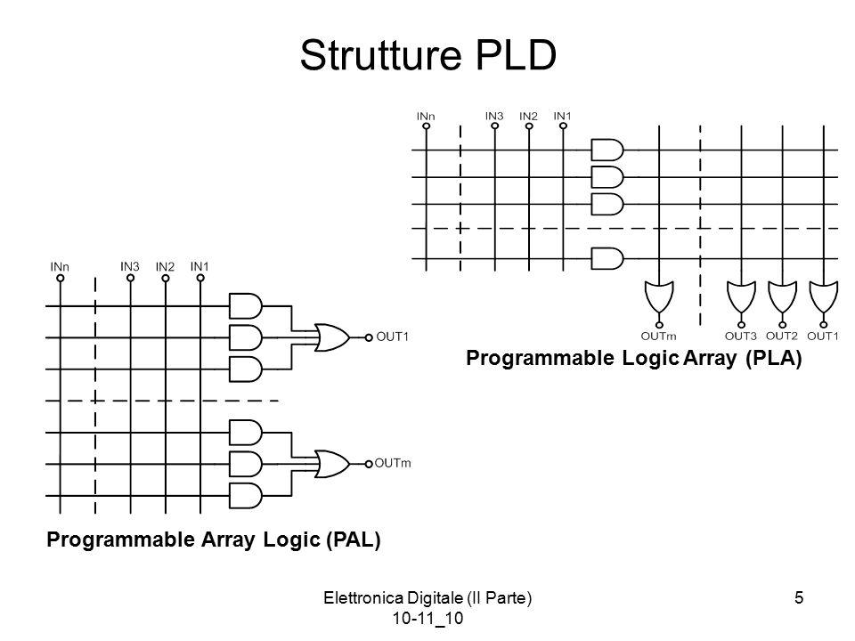 Elettronica Digitale (II Parte) 10-11_10 5 Strutture PLD Programmable Logic Array (PLA) Programmable Array Logic (PAL)