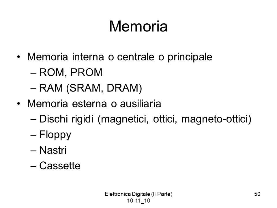 Elettronica Digitale (II Parte) 10-11_10 50 Memoria Memoria interna o centrale o principale –ROM, PROM –RAM (SRAM, DRAM) Memoria esterna o ausiliaria –Dischi rigidi (magnetici, ottici, magneto-ottici) –Floppy –Nastri –Cassette