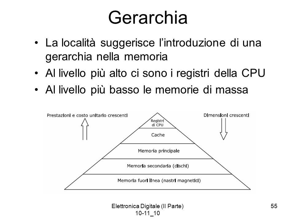 Elettronica Digitale (II Parte) 10-11_10 55 Gerarchia La località suggerisce l'introduzione di una gerarchia nella memoria Al livello più alto ci sono