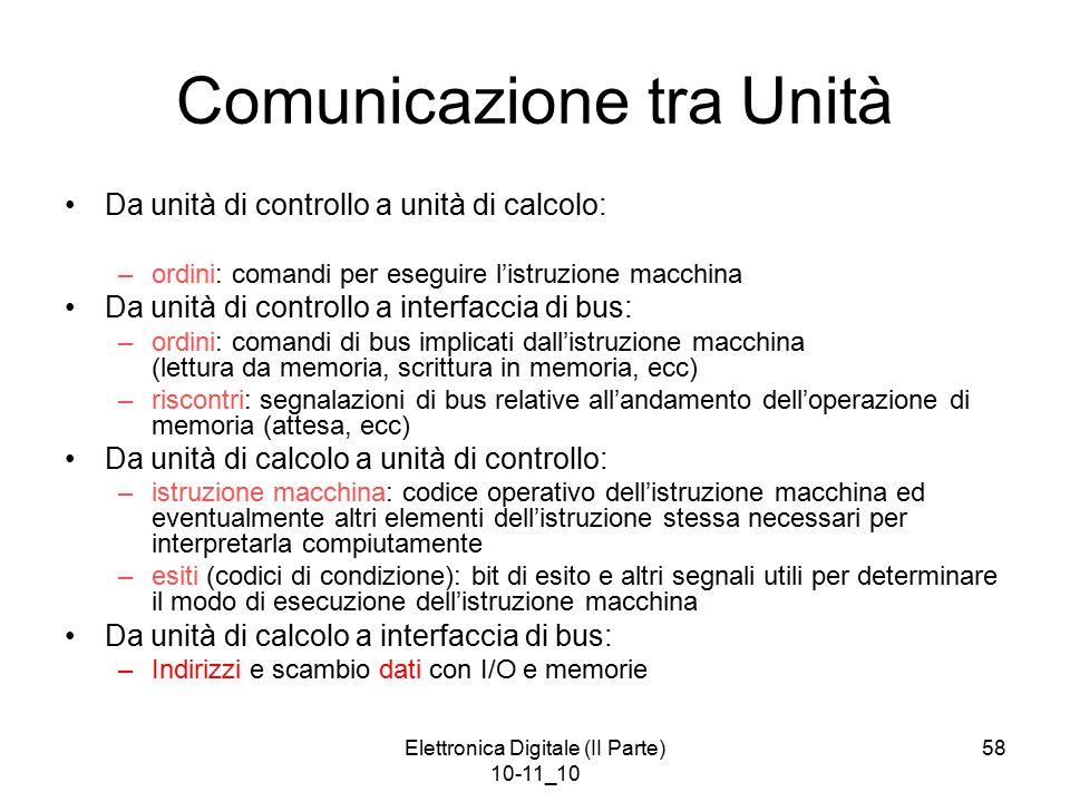 Elettronica Digitale (II Parte) 10-11_10 58 Comunicazione tra Unità Da unità di controllo a unità di calcolo: –ordini: comandi per eseguire l'istruzio