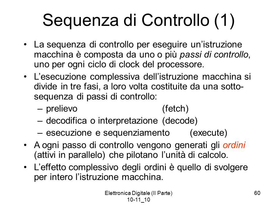 Elettronica Digitale (II Parte) 10-11_10 60 Sequenza di Controllo (1) La sequenza di controllo per eseguire un'istruzione macchina è composta da uno o più passi di controllo, uno per ogni ciclo di clock del processore.