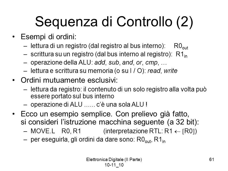 Elettronica Digitale (II Parte) 10-11_10 61 Sequenza di Controllo (2) Esempi di ordini: –lettura di un registro (dal registro al bus interno): R0 out –scrittura su un registro (dal bus interno al registro): R1 in –operazione della ALU: add, sub, and, or, cmp, … –lettura e scrittura su memoria (o su I / O): read, write Ordini mutuamente esclusivi: –lettura da registro: il contenuto di un solo registro alla volta può essere portato sul bus interno –operazione di ALU......
