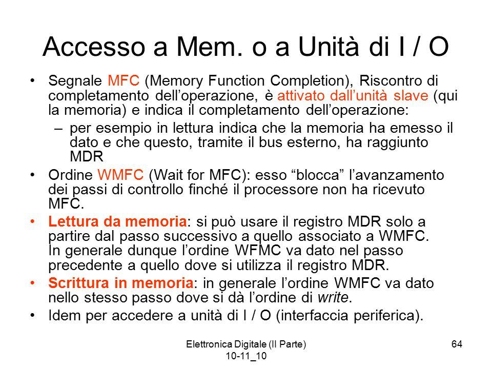 Elettronica Digitale (II Parte) 10-11_10 64 Accesso a Mem. o a Unità di I / O Segnale MFC (Memory Function Completion), Riscontro di completamento del