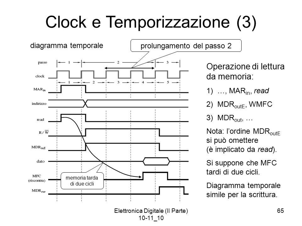 Elettronica Digitale (II Parte) 10-11_10 65 Clock e Temporizzazione (3) Operazione di lettura da memoria: 1) …, MAR in, read 2) MDR outE, WMFC 3) MDR