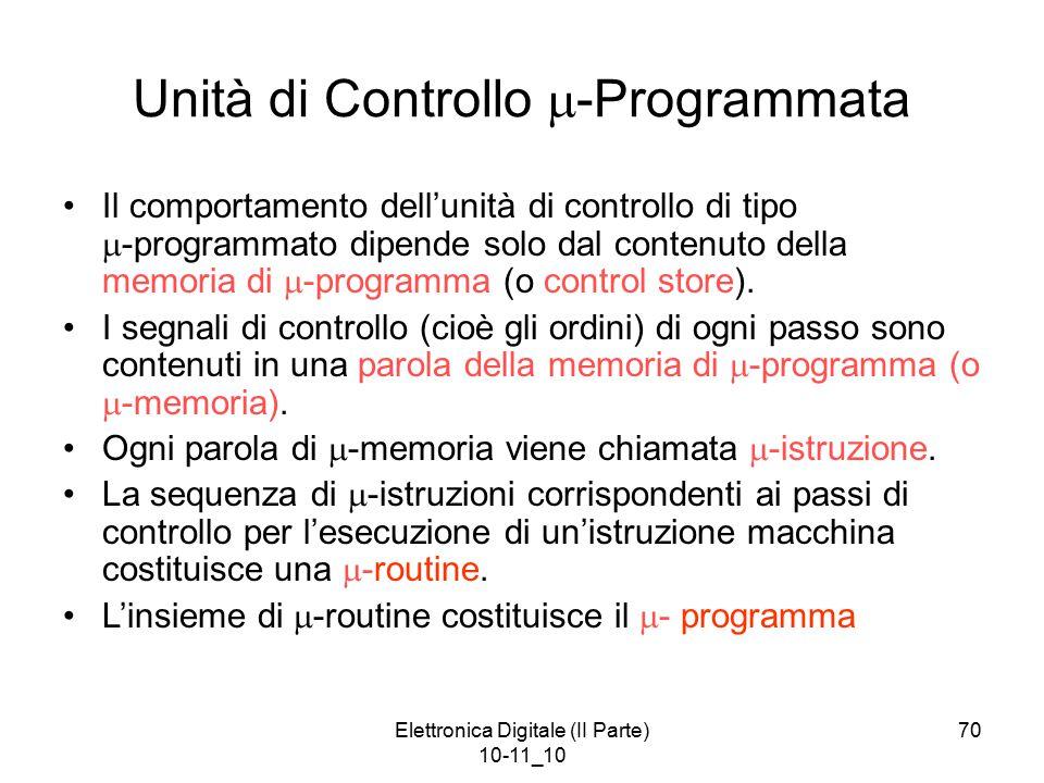 Elettronica Digitale (II Parte) 10-11_10 70 Unità di Controllo  -Programmata Il comportamento dell'unità di controllo di tipo  -programmato dipende