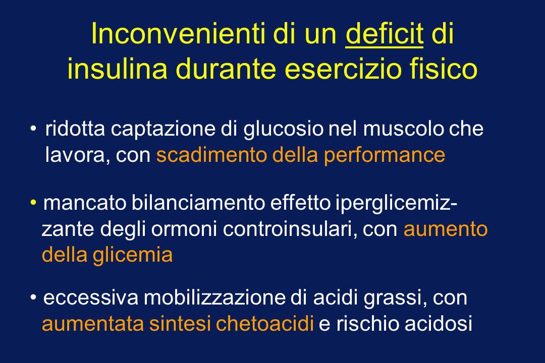 Inconvenienti di un deficit di insulina durante esercizio fisico ridotta captazione di glucosio nel muscolo che lavora, con scadimento della performan