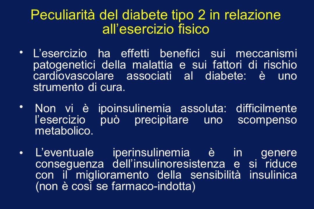 Peculiarità del diabete tipo 2 in relazione all'esercizio fisico L'esercizio ha effetti benefici sui meccanismi patogenetici della malattia e sui fatt