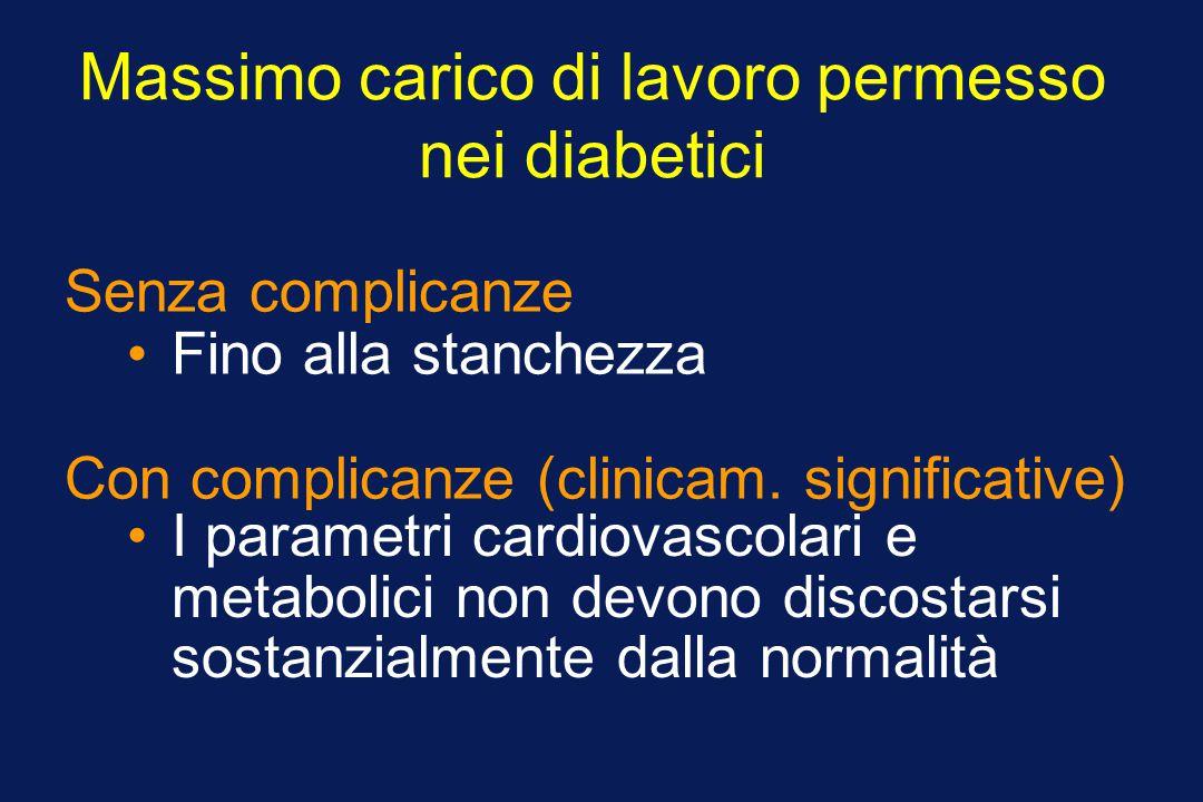 Massimo carico di lavoro permesso nei diabetici Fino alla stanchezza Senza complicanze I parametri cardiovascolari e metabolici non devono discostarsi