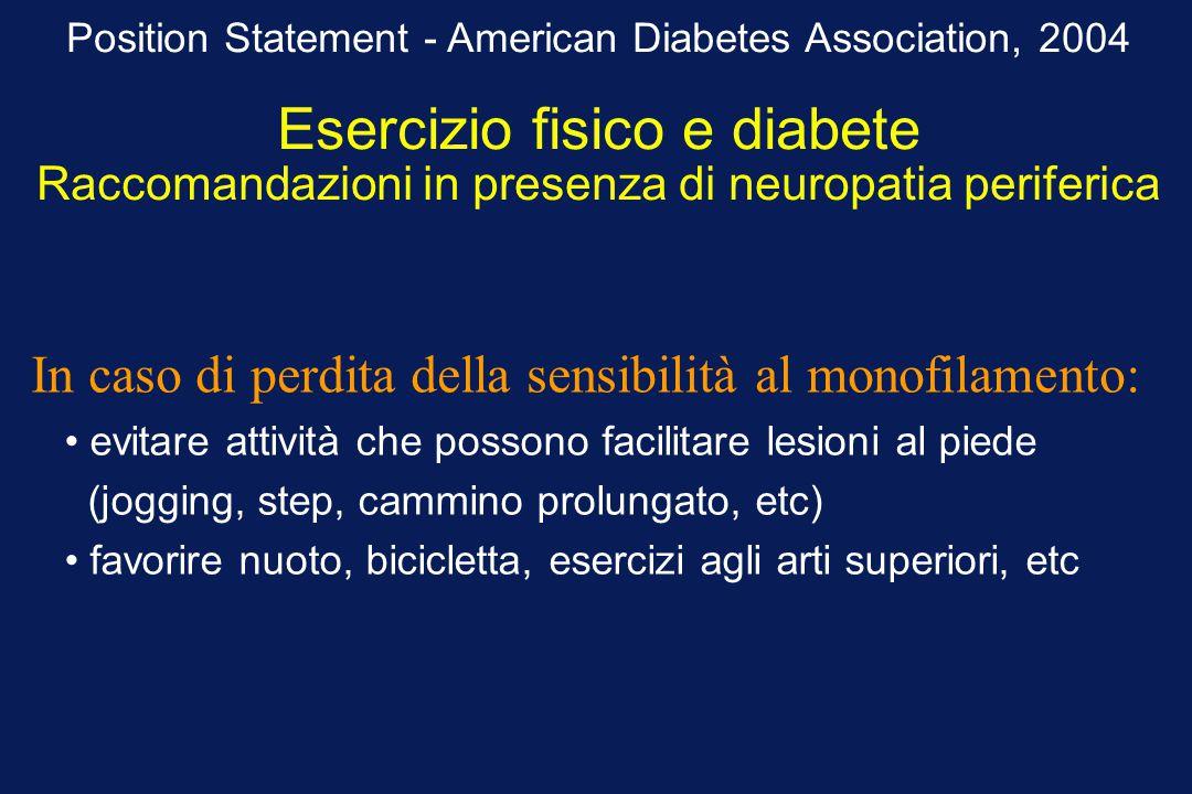 Position Statement - American Diabetes Association, 2004 Esercizio fisico e diabete Raccomandazioni in presenza di neuropatia periferica evitare attiv
