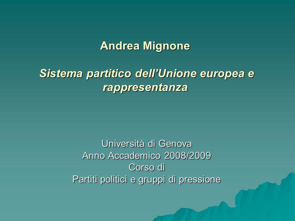 Andrea Mignone Sistema partitico dell'Unione europea e rappresentanza Università di Genova Anno Accademico 2008/2009 Corso di Partiti politici e gruppi di pressione