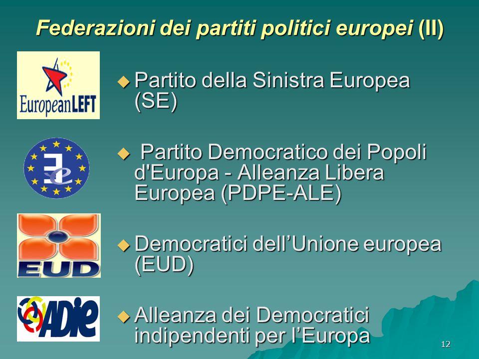 12 Federazioni dei partiti politici europei (II)  Partito della Sinistra Europea (SE)  Partito Democratico dei Popoli d Europa - Alleanza Libera Europea (PDPE-ALE)  Democratici dell'Unione europea (EUD)  Alleanza dei Democratici indipendenti per l'Europa