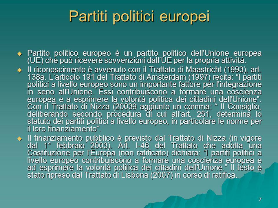 7 Partiti politici europei  Partito politico europeo è un partito politico dell Unione europea (UE) che può ricevere sovvenzioni dall'UE per la propria attività.