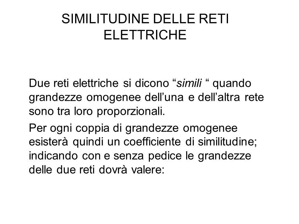 SIMILITUDINE DELLE RETI ELETTRICHE Due reti elettriche si dicono simili quando grandezze omogenee dell'una e dell'altra rete sono tra loro proporzionali.