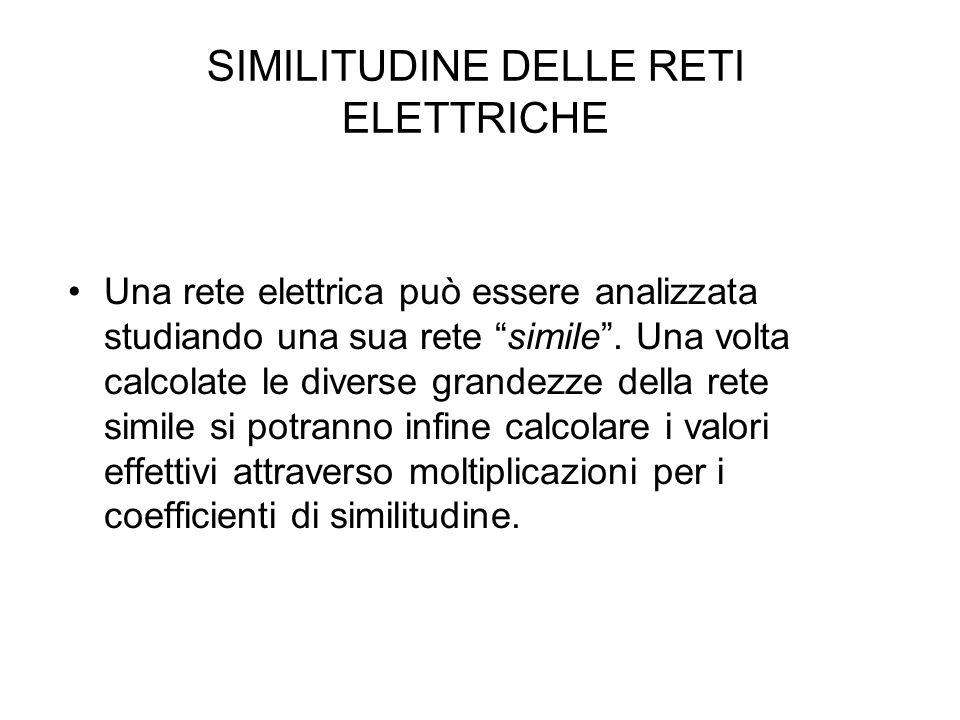 """SIMILITUDINE DELLE RETI ELETTRICHE Una rete elettrica può essere analizzata studiando una sua rete """"simile"""". Una volta calcolate le diverse grandezze"""
