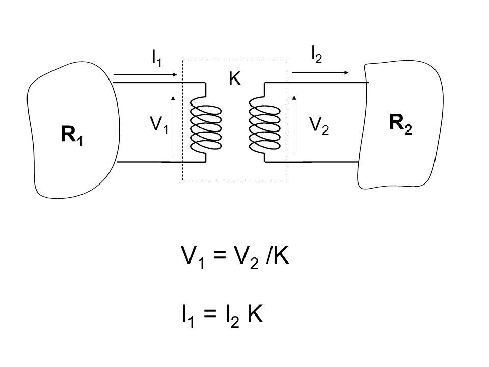 R1R1 R2R2 I2I2 I1I1 V2V2 V1V1 K V 1 = V 2 /K I 1 = I 2 K